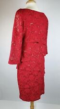Ronni Nicole Red Tiered Stretch Lace Sheath Cocktail Dress Sequin Size 14
