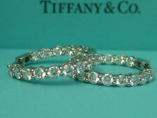 TIFFANY & CO. SHARED SETTINGS 2.39TCW DIAMOND PLATINUM HOOP RINGS EARRINGS BNIB