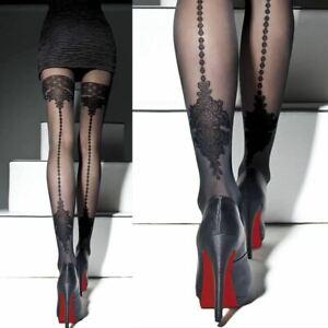Faux Back Seam Patterned Pantyhose Apriel 40 Denier Fashion Seamed Tights