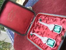 ART DECO riesige Ohrhänger Pampeln Simili: Silber Smaragd Brillanten Ohrringe