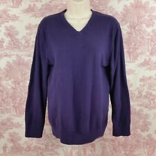 Structure Womens Sweater V Neck Purple Size M Thin Knit Long Sleeve