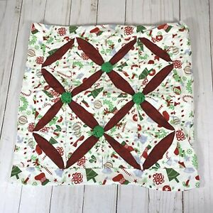 """Vintage Homemade Christmas Quilted Throw Pillow Cover Cathedral Window Yo-yo 14"""""""