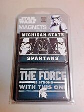 """NCAA MICHIGAN STATE SPARTANS /STAR WARS 2 PACK MAGNETS 3 1/2"""" X 2"""" NEW NIP NICE!"""
