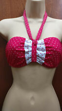 Midnight Grace figleaves Rose Bandeau Bikini Top Pink White Spot Swimwear