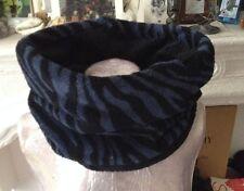 Snood col tour cache cou écharpe tube polaire réversible noir / tigré bleu nuit