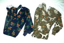Lot of 2 Boys Fleece Pajamas Footed Oshkosh Sz 5 & Cherokee Sz 4/5