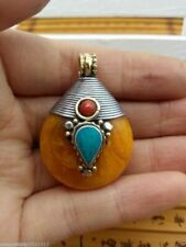 Nepal Tibet silver amber beeswax Mosaic turquoise red coral pendants