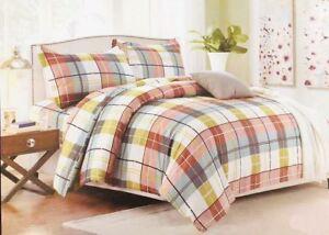 Luxurious Check Design Duvet Cover Bedding Set Pillowcases White/Green/Brown