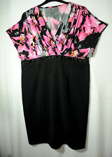 BLACK PINK STRETCHY BODYCON LADIES FORMAL PARTY COCKTAIL DRESS TOGETHER SIZE 20