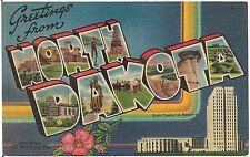 Greetings From North Dakota Large Letter Linen Postcard