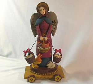 Kathy Killip Americana Christmas Angel with Chickens PEACE TO ALL MANKIND 2001