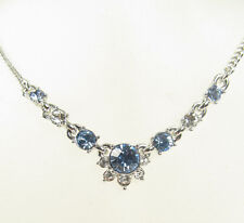 $48 Givenchy Silver Tone Blue and Clear Crystal Necklace NEW