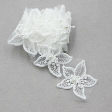 2 Yard weiß Borte Spitze mit 16 Blumen Perle Damen Aufnäher Spitzenborten DIY