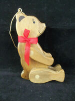 Vintage Wood Jointed Teddy Bear With Red Bow Christmas Ornament