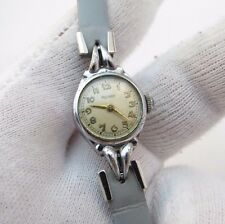 """ROTARY,17j Manual Wind,""""Classic Round"""" SS Case,Leather Band LADIES WATCH,1003"""