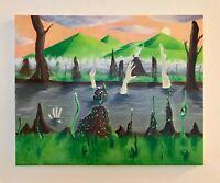 Original Oil Surreal Painting 'Strange Sunset' One of a kind. Fantasy