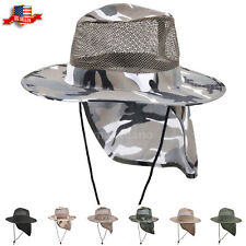 Cotton Boonie Hat for Men with Neck Cover Military Camo Hats Wide Brim Cool Mesh