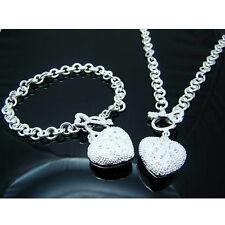 925Sterling Silver Jewelry Lovely Heart Key Women Necklace Bracelet Set FS025