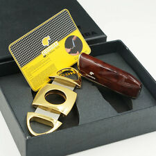 COHIBA Wine Red 3 TORCH JET FLAME Cigar Lighter With 2 Blades Metal Cutter