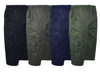 Mens 3/4 Elasticated Waist Long Shorts Cargo Combat 100% Cotton