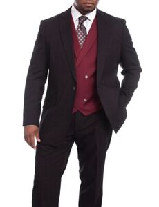 Mens 44L Vitali Classic Fit 44L Burgundy And Black Donegal Vested Suit With P...