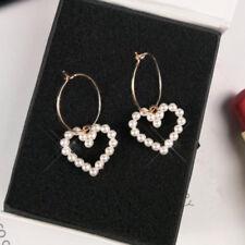 Women Girls Circle Hoop Heart Imitation Pearl Drop Dangle Earrings Jewelry Gift