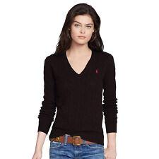 Ralph Lauren Ladies Womens Luxury V Neck Jumper Sweater 100 Cotton Cable Knit Black Medium