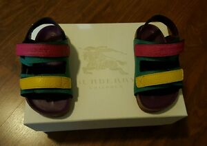 BURBERRY LEATHER SANDALS TODDLER TOPAZ BLUE/YELLOW/PINK EU24 EU8