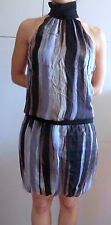 ZARA BASIC dress VESTITO righe ANIMALIER gonna SETA silk L marrone BROWN nero