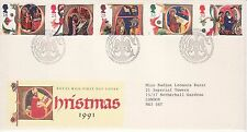GB Stamps First Day Cover Christmas Xmas Illuminated Letters  SHS Bird 1991