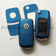 1V_Schlüssel-Dekor VW Polo Golf Touran Bora Jetta Caddy blau metallic glänz.