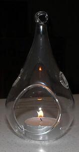 60 Glass Tear Drop Pear Shape Hanging Tealight Candle Holder Wedding 12cm BULK