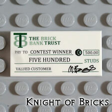 Lego Minifigure WHITE The Brick Bank Trust Pay Contest Check Money Tile 2 x 4