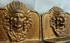 Vintage INDIAN Chief HEAD DRESS METAL BOOKENDS