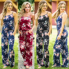 UK Womens Jumpsuit Print Floral Ladies Summer Beach Wide Leg Holiday Playsuit