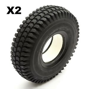 2 Solid PU Tyre 3.00-4 4 Inch Black Puncture Proof Mobility Scooter Block Tread