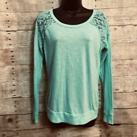 PINK Victoria Secret Size S Small Top Shirt Green Lace Shoulder Long Sleeve
