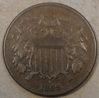 1869 Two Cent Piece Better Grade Small Punch Mark above Last S in States Rev.