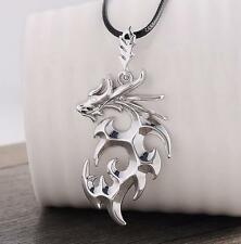 Men's Stainless Steel Dragon Pendant Necklace With Leather Chain Jewelry Gift