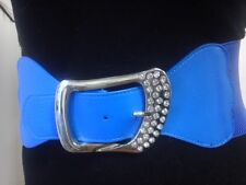 Women Elegant Elastic Waist Blue Belt With Rhinestones Buckle Sizes S M L