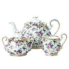 Royal Albert 100 Years Tea Set 1940 English Chintz Teapot- Covered Sugar Creamer