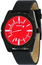 Diesel DZ1632 Men's Good Company Black IP Leather Band Iridescent Red Dial Watch