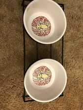 Room Creative - Color Me Happy Extra Small Dog Bowls set 2 Stoneware With Stand