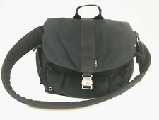 LL BEAN Messenger Bag Campus Black Padded Strap Style OMY29 Canvas Pockets