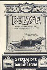 PARIS PEREIRE PUBLICITE AUTOMOBILES DELAGE VOITURETTES 1913