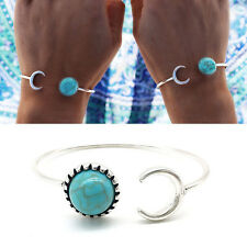WDS Cute Turquoise Bracelet Opening Adjusted Moon Sun Open Bangle Ideal Gift