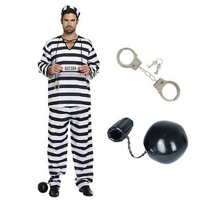 XL Adult Prisoner Black White Fancy Dress Costume Convict Stag Outfit
