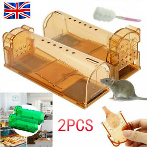 Set of 2 Humane Mouse Trap No Kill Rodent Catch Live Cage Child Safe Reusable