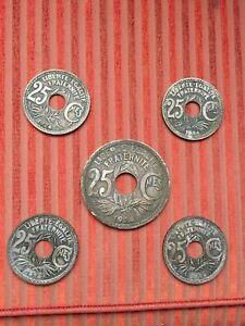 lot 5 Médaille sous-verre   pièce 25 centimes 1924 France LYNDAUER