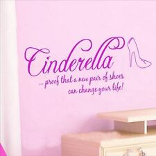 Huhome PVC Wall Stickers Wallpaper English Cinderella glass slipper bedroom beds
